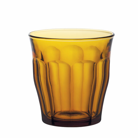 Picardie Amber Glass Tumbler, 310ml, Pack of 6