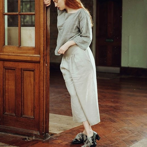 Wide Tailored Linen Trousers