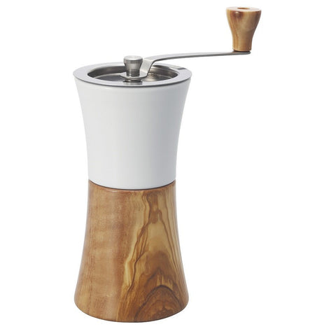 Ceramic and Olive Wood Coffee Mill Hand Grinder