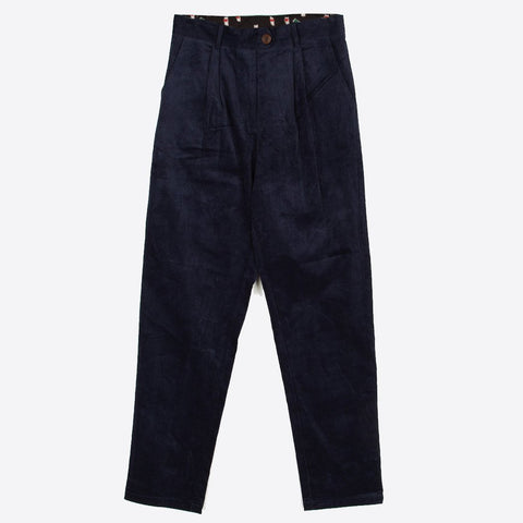 Corduroy Peg Leg Trousers, Navy