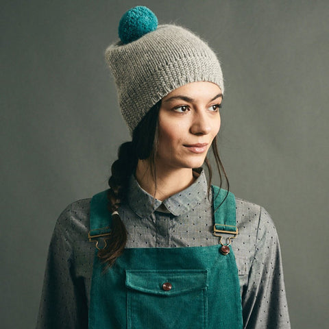 Hand Knit Pom Beanie, Grey -  - BuyMeOnce UK