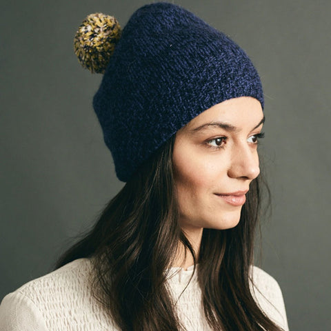 Hand Knit Pom Beanie, Navy -  - BuyMeOnce UK