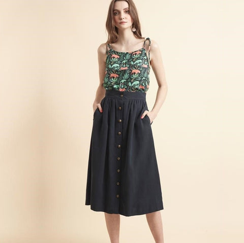 Modal Button Front Skirt