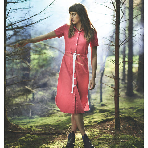 Red Cotton Utility Dress