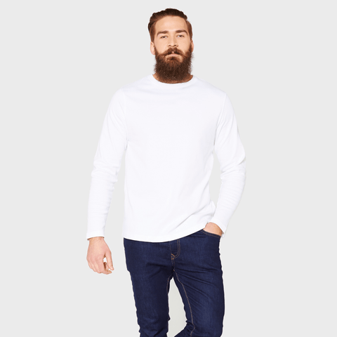 White T-Shirt Co Relaxed Long Sleeve Crew Neck | BuyMeOnce.com
