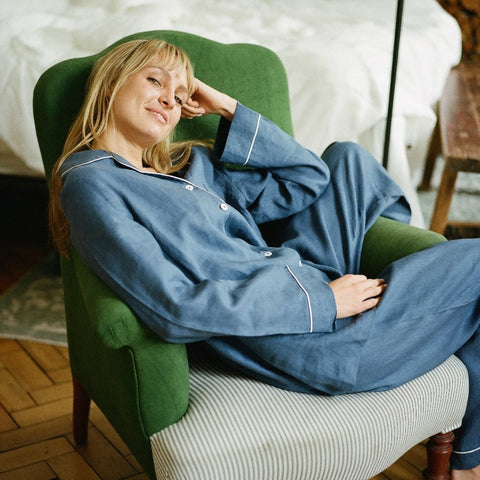 Blueberry Linen Pyjama Set