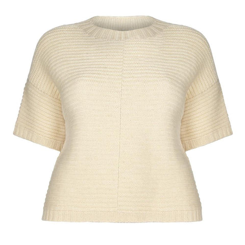 Poncho Jumper in Ecru Cream Wool