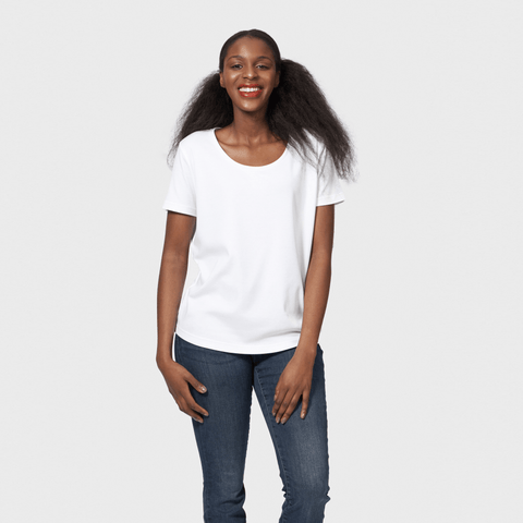White T-Shirt Co Women's Loose Fit Scoop Neck T-shirt | BuyMeOnce.com