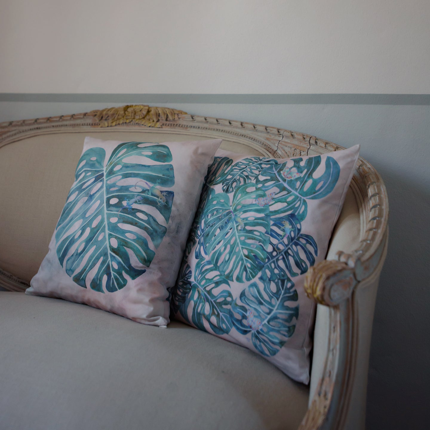 Cushion Cover - Monstera - Teal