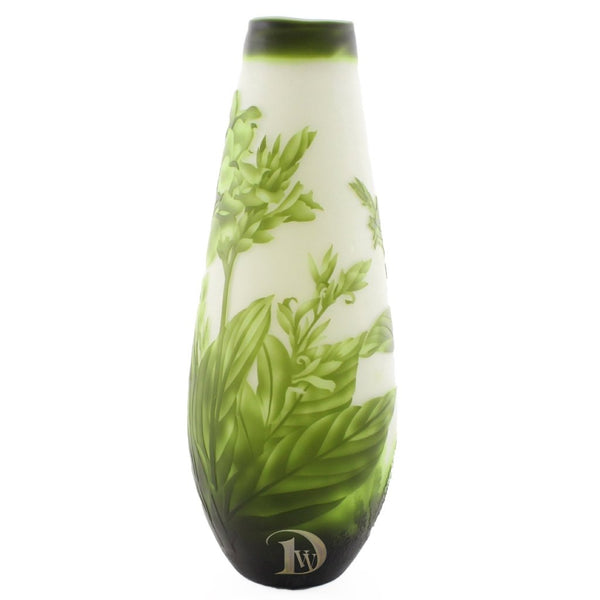 Glass Vase with Green Flowers