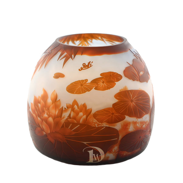 Glass Vase with Lily Pond