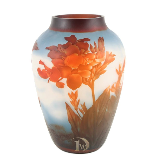 Glass Vase with Red Flowers