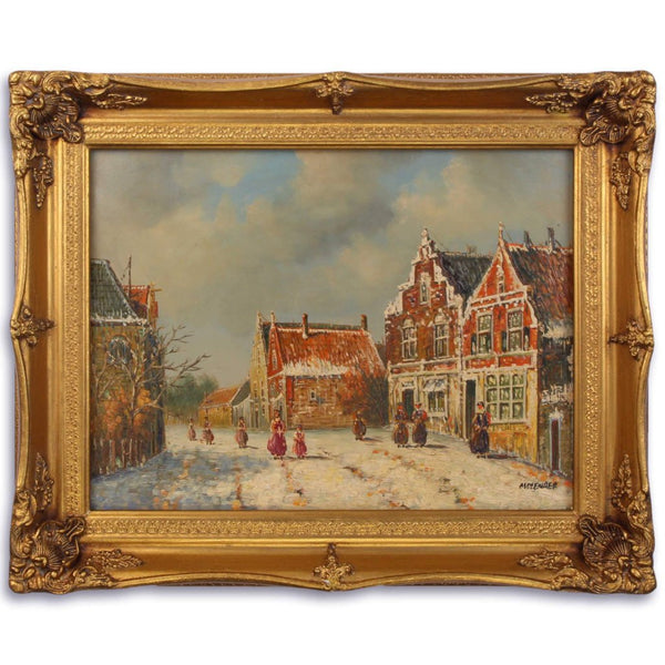 Winter Town Oil Painting in Golden Frame