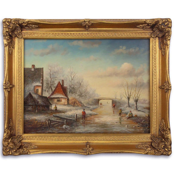 Winter Landscape Oil Painting in Golden Frame