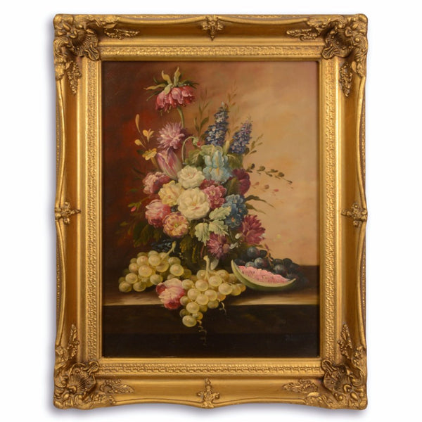 Fruits and Flowers Oil Painting in Golden Frame