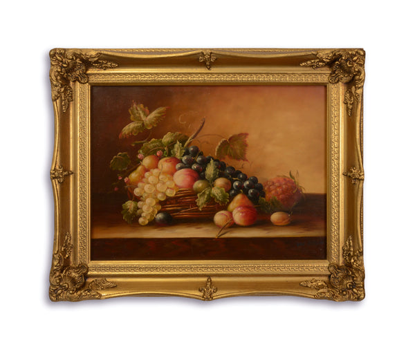 Fruits Basket Oil Painting in Golden Frame