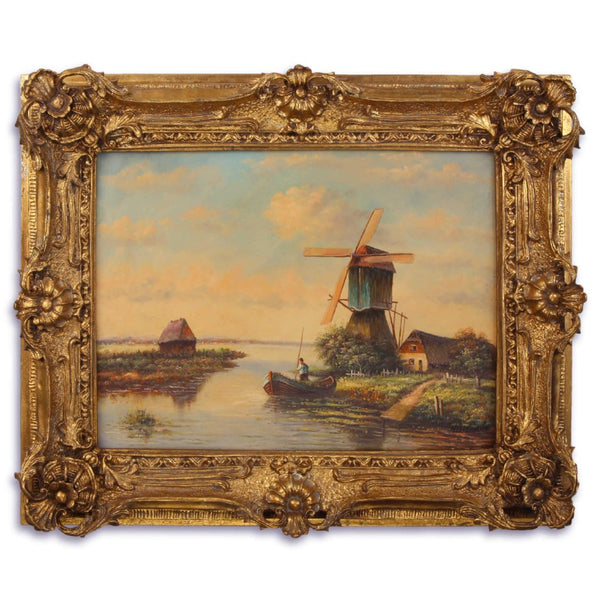 Mill on the River Oil Painting in Richly Decorated Frame