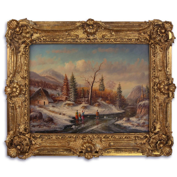 Winter River Oil Painting in Richly Decorated Frame