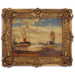 Morning in Harbor Oil Painting in Richly Decorated Frame