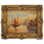 Harbor At Sunset Oil Painting in Richly Decorated Frame