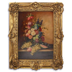 Flowers and Fruits Oil Painting in Richly Decorated Frame