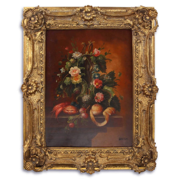 Flowers Oil Painting in Richly Decorated Frame