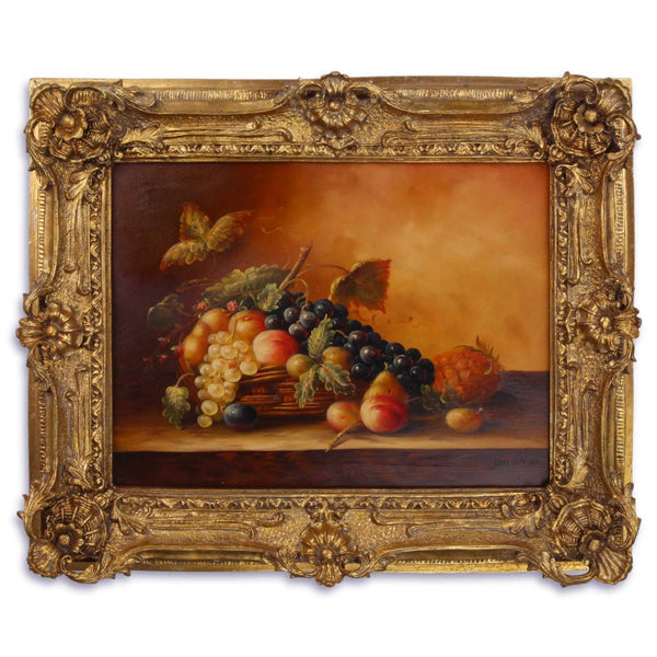 Fruits Basket Oil Painting in Richly Decorated Frame