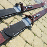 Antique Wooden Skis Dark Brown Finish