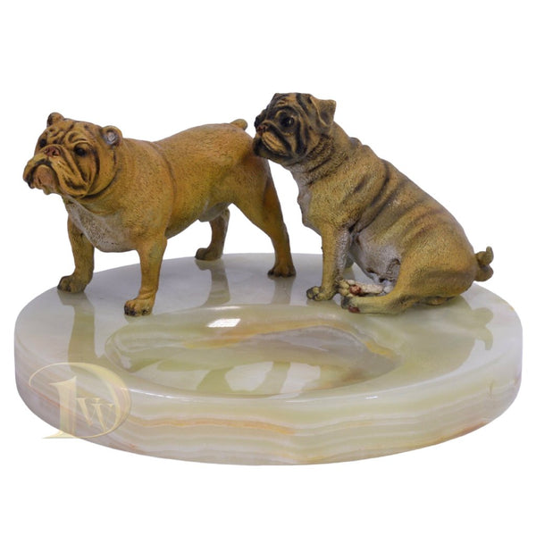 Onyx Ashtray with Bronze Figurine Bulldog & Pug