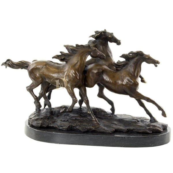 Galloping Horses Bronze Sculpture