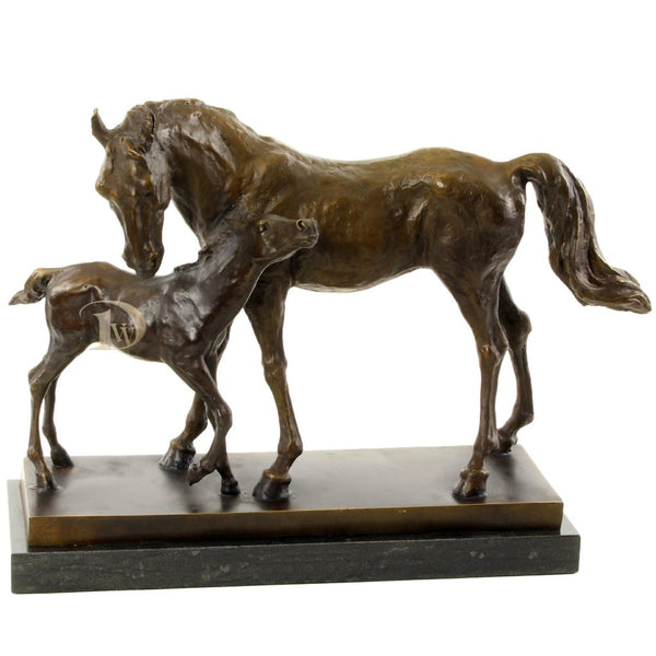 Mare and Foal Bronze Sculpture