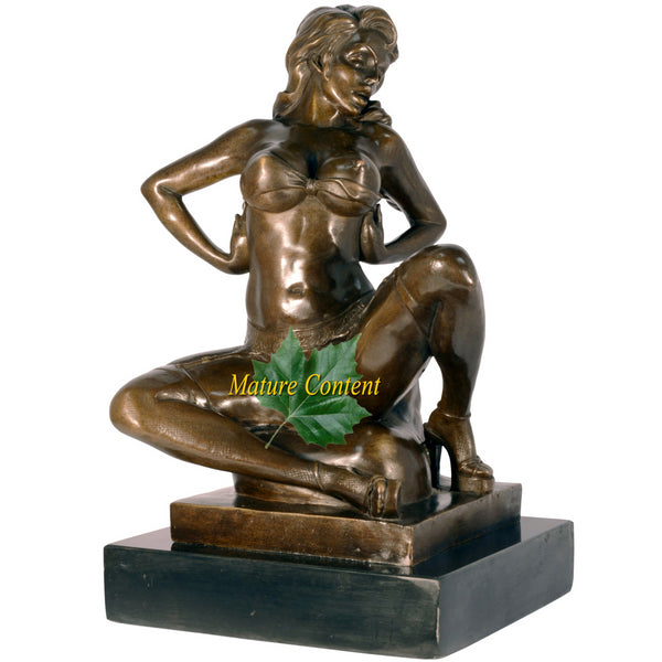 Naughty Girl Sitting on Pillow Bronze Sculpture