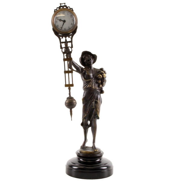 Bronze Figurine Table Clock Boy