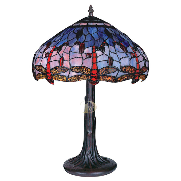 Tiffany Table Lamp Dragonfly on Blue