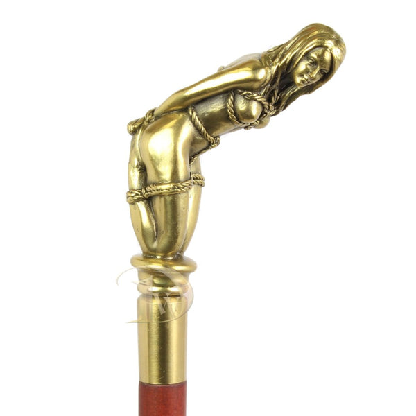 Walking Stick Decorated with Bronze Sculpture Bounded Woman