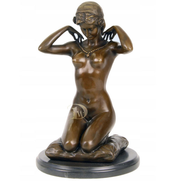 Lady Nude with Necklace Bronze Sculpture
