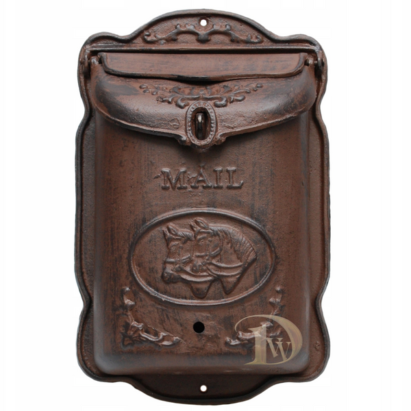 Vintage Style Letterbox Horses Brown
