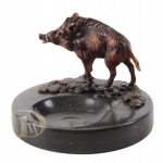 Marble Ashtray with Bronze Figurine Boar