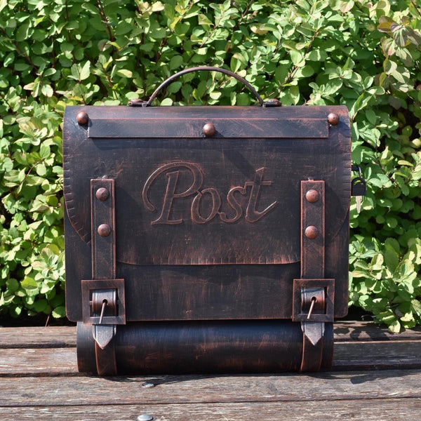 Custom Mailbox With Custom Mailbox Vintage Letterbox Handmade Mailbox In Messenger Bag Shape Old Iron