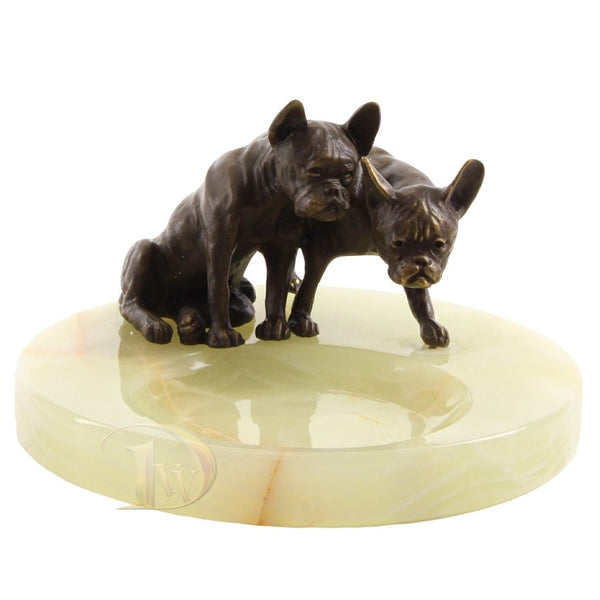 Onyx Ashtray with Bronze Figurine Two Bulldogs