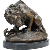Lion and Serpent Bronze Sculpture