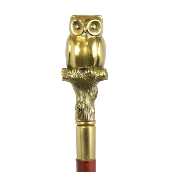 Walking Stick Decorated with Bronze Sculpture Owl