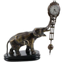 Bronze Figurine Table Clock Elephant