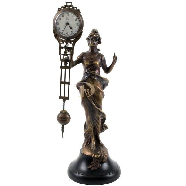 Bronze Figurine Table Clock Nymph