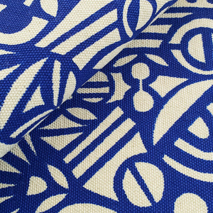 Screenprinted Fabric: Circles in Blue