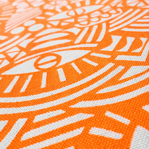 Screenprinted Fabric: Eyes in Neon Orange