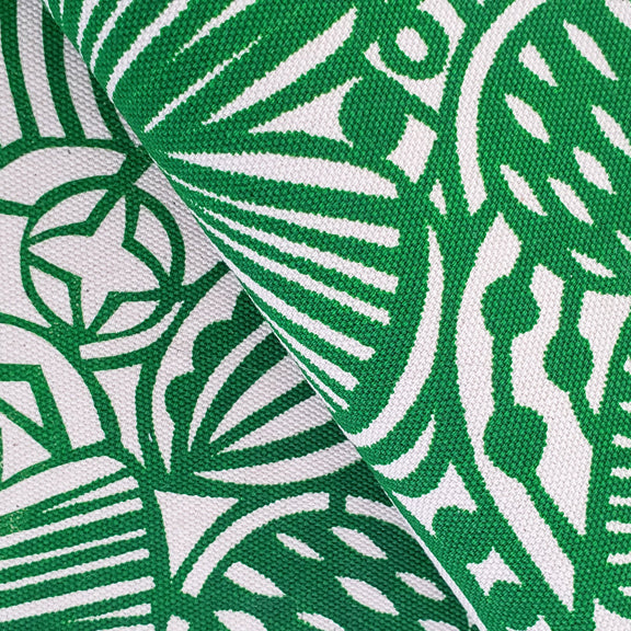 Screenprinted Fabric: Flowers in Green