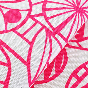 Screenprinted Fabric: Flowers in Neon Pink