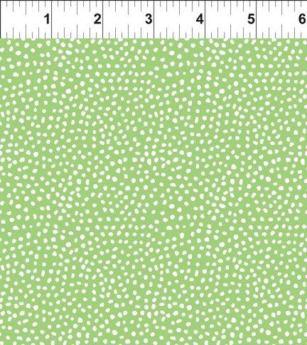 In The Beginning Fabrics, Doodle Blossoms, Small Dots, Green, 11DB 3