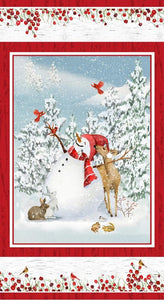 Henry Glass & Co., Sheltering Snowman, Snowman with Cardinals Panel, Q1310P-81